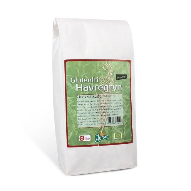 Biodynamiske grovvalsede havregryn på 1 kg. fra Aurion