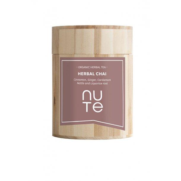 NUTE Herbal Chai (mørke urter) 100 gram i flot trææske - økologisk