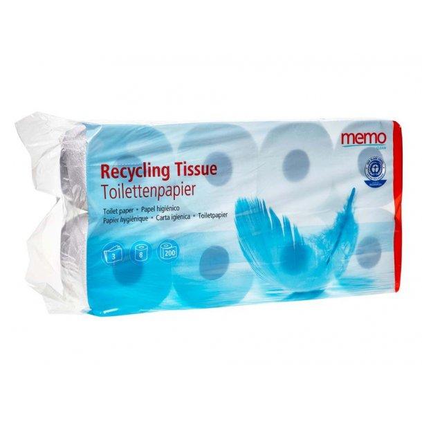 Toiletpapir 3-lags Memo 8 ruller - Recycling