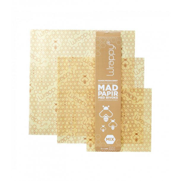 Madpapir med bivoks mix pakke Wrappy - Miljøvenlig